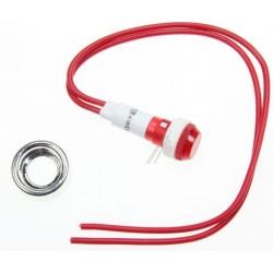 Voyant Rouge Ø 10mm + Câble + Écrou Chromé