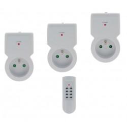 3 Prises Télécommandables D'intérieures Blanches + Télécommande