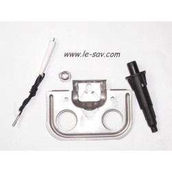 Kit Support en Tole + Electrode + Allumeur Piezo + Liaison Filaire Piezo + Ressort pour Barbecue Campingaz